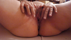 Sexy Blonde BBW with Big tits fingers and rides