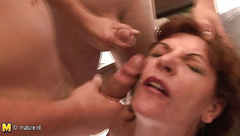 Mama loves to suck three cocks at once