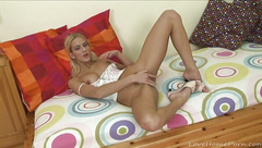 Amazing blonde plays with a banana toy