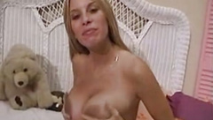 Busty amateur Mary playing her pussy after interview