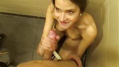 two suck dick in a public toilet