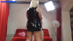 Busty blonde first time dances
