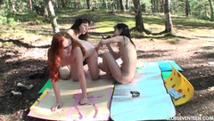 Three young lesbians filming each other