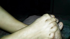 Footjob my wife 69