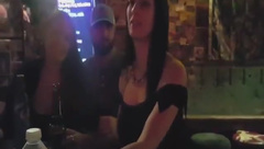 Big titty wife flashing in bar. Sucks and fuck in back