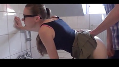 Brunette With Glasses Fucked in the Bathroom.wmv