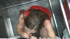 Blowjob in the elevator with your amateur mommy