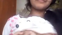Indian girl showing perfect natural boobs to boyfriend