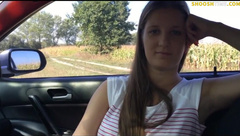 Teen BJ in car finished it off outdoors