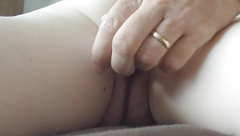 Close up wife's cunt with vibrator gentle groaning