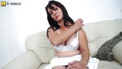 Hot mother masturbating when she is all alone