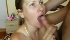 Sexy blond MILF sucks Hubby%27s friend%27s cock