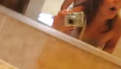 Great amateur self-shot clip of a couple fucking in bathroom