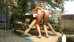 Horny Blonde Smashed Over Table Outside