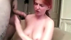 Redhead with big soft boobies gets facefucked 2
