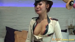 Hot asian babe teasing and dildo fucking her sweet cunt while on webcam