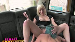 FemaleFakeTaxi Lesbians have pussy licking wrestle fun in back of british taxi