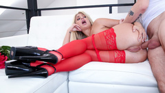 Anal in red stockings with blonde girlfriend