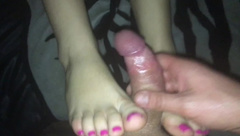Milf great fuck, close up pussy fuck, cum on foot, cum on feet