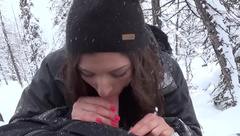 LucysLounge snowboarding and sucking a dick in the mountains