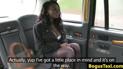 Busty ebony throats cabbie cock for a ride