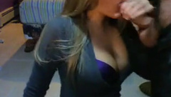 Sexy cleavage girl shows her sucking skills 2