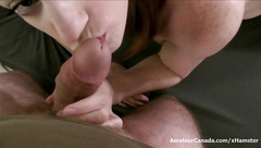 Hot amateur girlfriend sucks balls and fucks with creampie