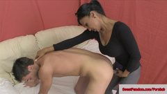 Hot Chicks Fuck a Guy with Strapons FEMDOM PEGGING PANTYHOSE TIGHTS