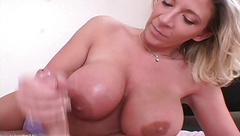 Handjob from busty amateur MILF in hot amateur porn