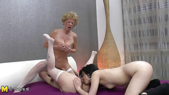 Old grannies fuck one young lesbian girl