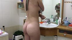 Spying On Sister Caught On Camera After The Shower Hidden Bathroom Hot Teen