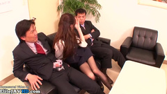 Threesome with young horny secretary