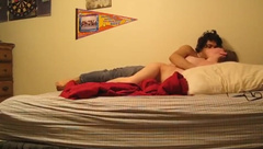 Hot young couple fucking in a a homemade video