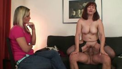 She watches old mom rides her BFs cock