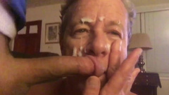 Cocksucking Faggot Gets Huge Cum Facial