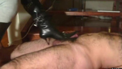 stiletto boots kicking on my dick