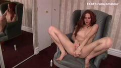 Hairy redhead squirts after intense self fucking session
