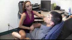 Hot girl jerks off a guy while sitting on his lap in office