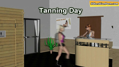 Lesbian women are having fun in tanning room