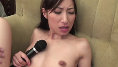 Brunette Asian skinny girl getting sex toy handled