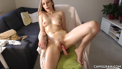 Homemade Video Of A Cunt Dildoing Blonde Chick