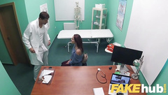 Fake Hospital Swallowing doctors hot cum helps babes throat