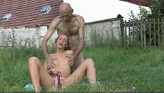Horny girl cheats with her BFs dad outdoors