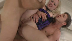 Blondie Lola Taylor takes two huge cocks