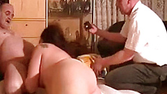 Chubby amateur Milf cuckold action in front of her husband