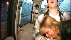 Beautiful french blonde blowing a cock in a car