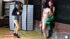 Amadahy and Natalya - 18 Year Old Learns to Manage Aggression by Ballbusting slaves