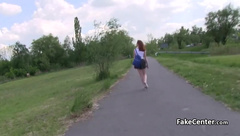 Flashing redhead fucking outdoors