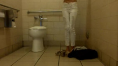 Christy_Love public cum show squirts in public bathroom