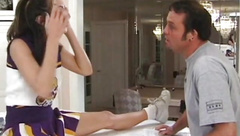 Cheerleader teen doggystyled and pussylicked